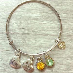 Jewelry - @sharonberk: Mom&Son Love Birthstone Silver Bangle
